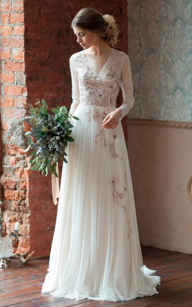Long Sleeve Tulle Satin Lace Wedding Dress