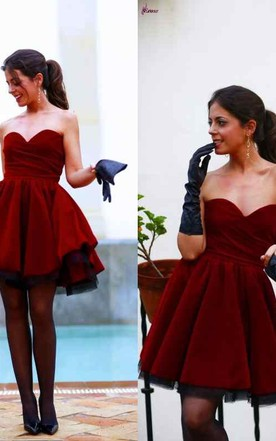 Lovely Sweetheart Burgundy 2016 Homecoming Dresses Short Prom Gowns