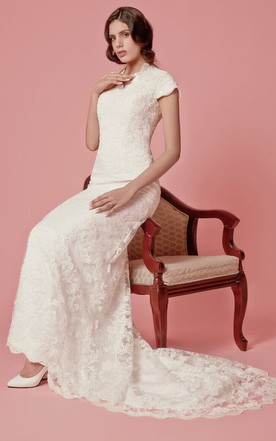 Vintage-inspired Lace Wedding Dress with Court Train and Back Buttons Detail