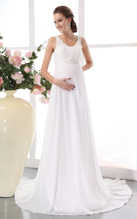 e280c0cf4a7 ... Soft Flowing Chiffon Maternity Empire Gown With Beading
