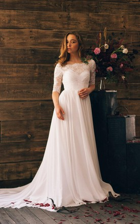 Romantic Style 3 4 Sleeve Long Chiffon Dress With Lace Bodice
