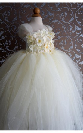 Flower Top Cap Sleeve Pleated Tulle Ball Gown Flower Girl Dress