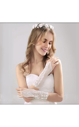 Long Length Crystal Exposed Bridal Gloves