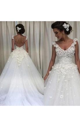 e024603fe9f5 V Neck 3D Flower Applique Backless Sweep Train Spring Garden Bridal Gown