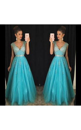 Elegant V-Neck Beadings Prom Dresses 2016 Long A-Line Tulle