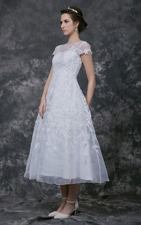 Short Sleeve Tea-length lace Wedding Dress