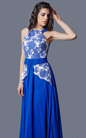 Enchanting High Neck A-line Chiffon Gown With Ruching