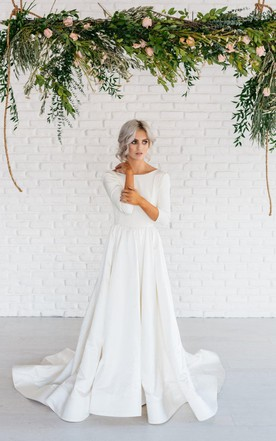 Modern Simple Long Sleeve A Line Satin Wedding Dress With Open Back