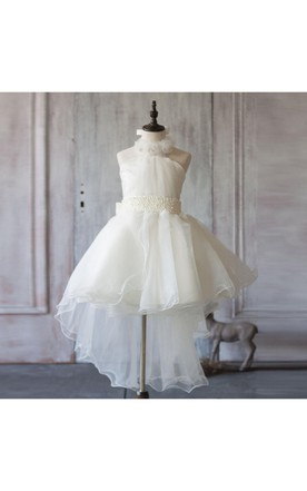 a23b34986 2018 Off White a Line Asymmetric Halter Neck Flower Girl Dress With Beading  Rosette ...