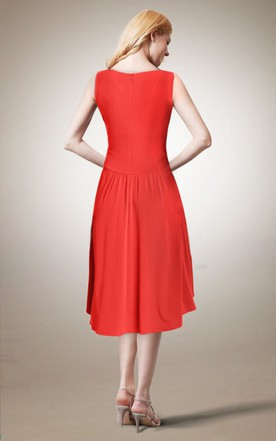High Low V Neck Jersey Dress With Pleats