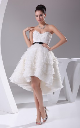 Sweetheart High Low A Line Dress With Tiers And Appliques