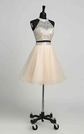 a9791fff600 A-Line Halter Tulle Romantic Short Mini Sleeveless Keyhole Dress with  Beading Sequins ...