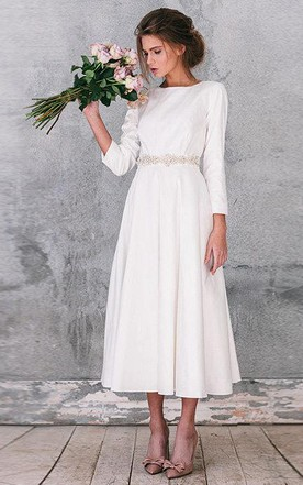 Natural Long Sleeve Taffeta Weddig Dress