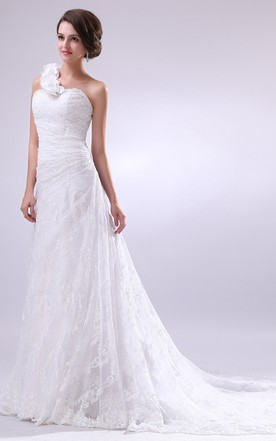 Front Gathering Gown With Single Floral Strap And Soft Tulle