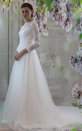 Long Sleeve A-Line Tulle Wedding Dress With Lace Bodice