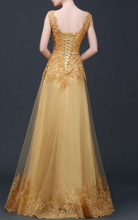 Ball Gown Floor-length Tulle&Lace&Satin Dress With Sash Ribbon