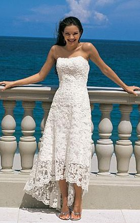 Gorgeous Sheath Column Strapless Asymmetry Length Lace Wedding Dresses