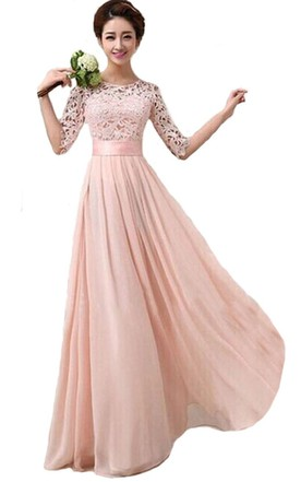 Scoop Long Wedding Gown With Lace Bodice and Belt ... 60a51a5093e4