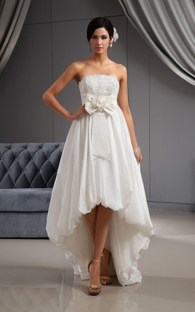 Sweetheart High Low Lace Bodice Wedding Dress With 3D Flower