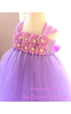 Cap Sleeve Beaded Flower Bodice Pleated Tulle Ball Gown With Bow Sash