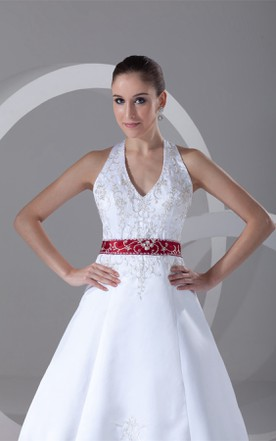 sleeveless a-line embroidered plunged dress with beading and halter