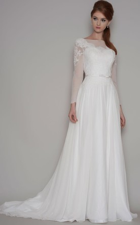 Long Sleeves Chiffon Bridals Dress, Chiffon Fabric Wedding Dresses ...