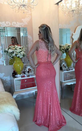 Timeless Sleeveless Lace Pearls Prom Dresses 2016 Mermaid Long Zipper Back