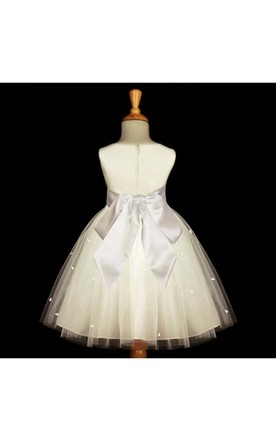 Sleeveless Jewel Neckline Ivory Rosebud Tulle Dress With Satin Bow Belt