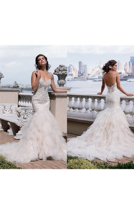 Trumpet Short Sweetheart Sleeveless Bell Beading Liques Chapel Train Backless Tulle Lace Dress