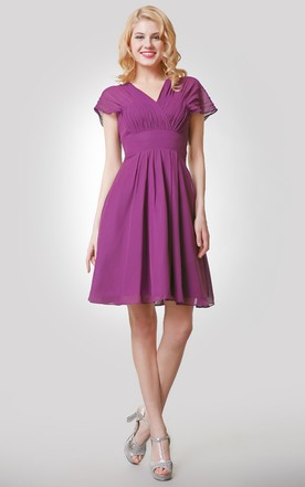 Short A-Line Chiffon Empire Dress With Ruched V-Neck