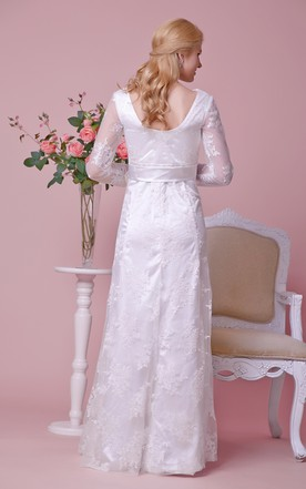 Bateau Neck Long-sleeved Lace Maternity Wedding Dress With Scoop Back