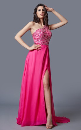 One Cap-sleeved A-line Chiffon Gown With Beaded Bodice and Side Split