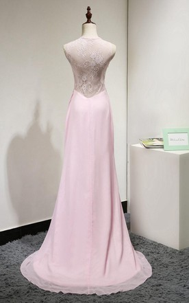 Sleeveless Floor-length Gown With Lace Back