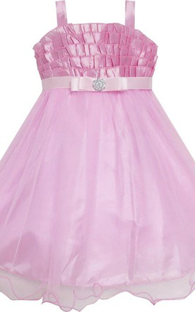 Sleeveless A-line Organza Dress With Straps and Pleats
