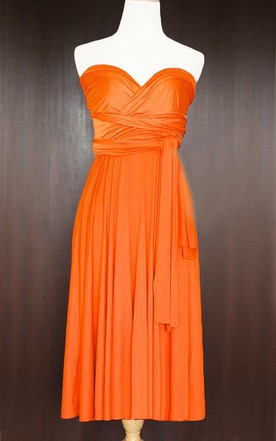 Short Straight Hem Orange Bridesmaid Convertible Wrap Wedding Maid Of Honor Dress