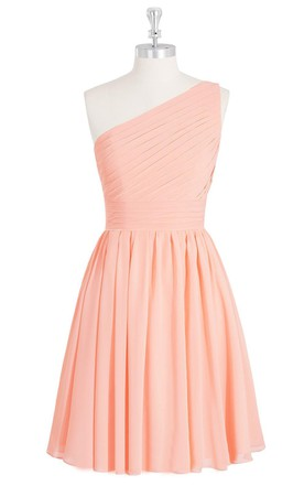 Short Chiffon A-Line Dress With One Shoulder and Pleats