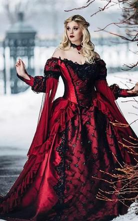 0093426e3 Ball Gown Off-the-shoulder Taffeta Chapel Train Long Sleeve Wedding Dress  with Corset ...