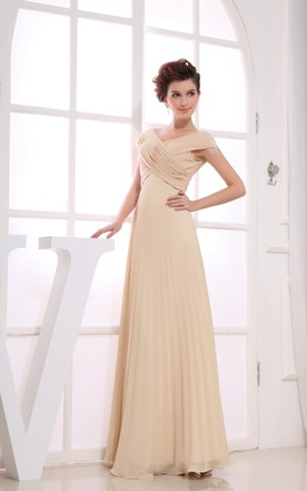 Chiffon Criss-Cross Ruched Floor-Length Dress With Pleats