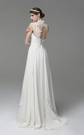 High Illusion Neck Cap Sleeve Chiffon Wedding Dress With Ruching