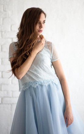 A-line Tulle Skirt With Lace and Pleated Skirt
