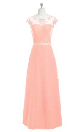 Cap Sleeve Chiffon A-Line Long Dress With Lace Embellishment and Bateau Neck