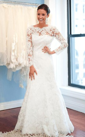Beautiful Elegant Lace Long Sleeve Wedding Dress 2016 White Sweep Train ...