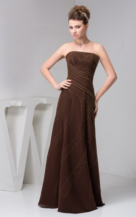 Strapless Chiffon Floor-Length Dress with Beading