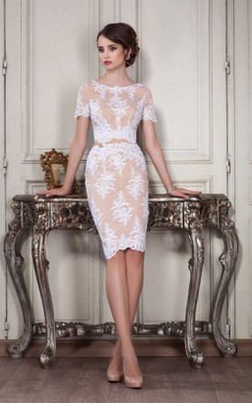 6e100d37a0 Sheath Knee-Length Jewel Short Sleeve Lace Appliques Zipper Dress