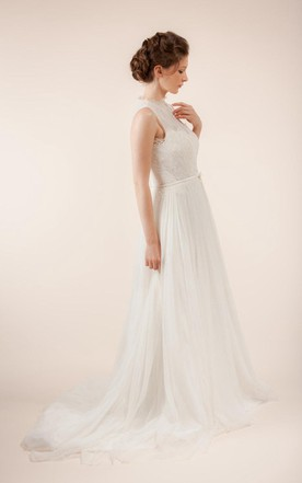 ... Long Sleeveless A Line Tulle Wedding Dress With Sheer Back Gallery