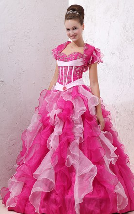 Muti-Color Sweetheart Organza Dress With Cape And Ruffle