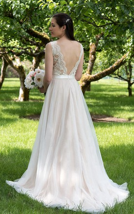 Low back backless wedding dress june bridals illusion v neck a line tulle wedding dress with tulle skirt junglespirit