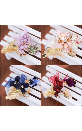 New Bride 'S Headdress Red Tasting Touching Headdress Kids' Day Princess Dress Hair Butterfly Hairpin