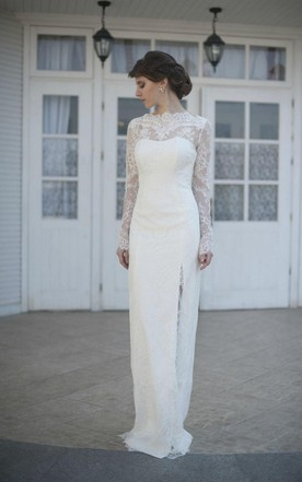 Gorgeous High Neck Long Illusion Sleeve Sheath Bridal Gown With Split Side  ...