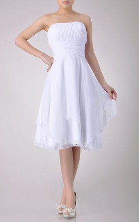 Strapless A-line Chiffon Knee-length Dress With Asymmetrical Design